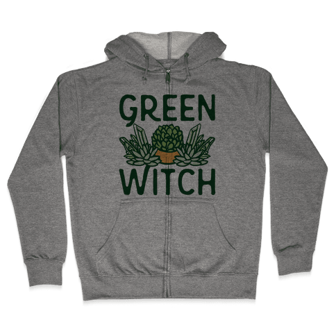Green Witch Zip Hoodie