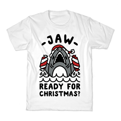 Jaw Ready For Christmas? Santa Shark Kids T-Shirt