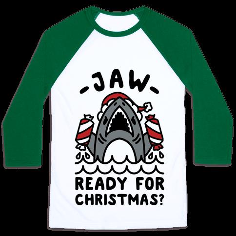 Jaw Ready For Christmas? Santa Shark Baseball Tee