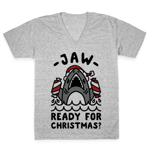 Jaw Ready For Christmas? Santa Shark V-Neck Tee Shirt