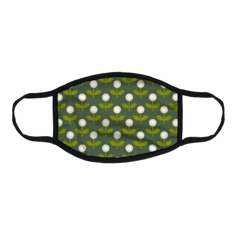 Dainty Retro Dandelions Green Pattern Flat Face Mask