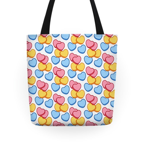 Candy Hearts Pattern White Tote