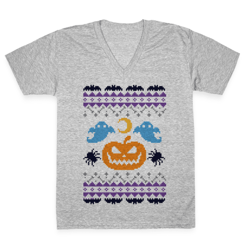 Ugly Halloween Sweater V-Neck Tee Shirt