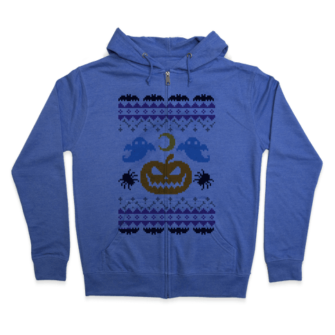 Ugly Halloween Sweater Zip Hoodie
