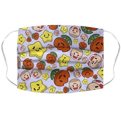Stuffed Powerups Pattern Accordion Face Mask