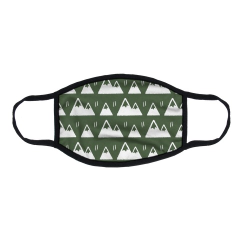 Mountains Boho Pattern Green Flat Face Mask