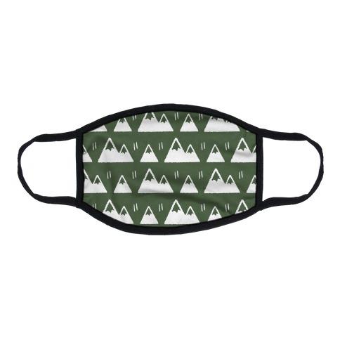 Mountains Boho Pattern Green Flat Face Mask