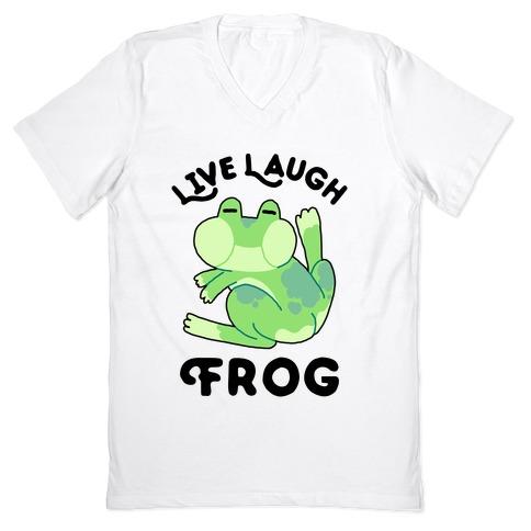 Live, Laugh, Frog V-Neck Tee Shirt