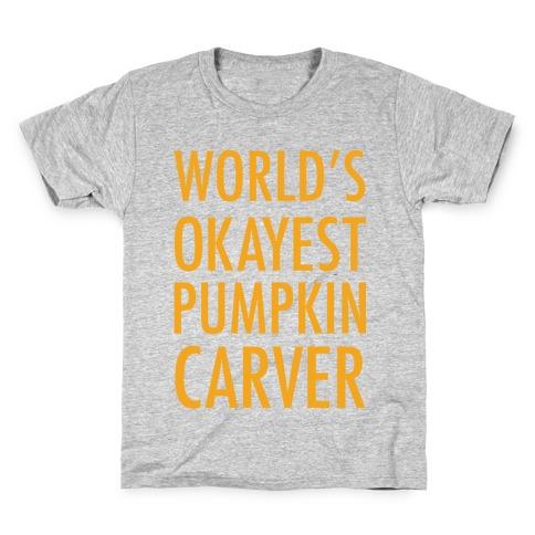 World's Okayest Pumpkin Carver Orange Kids T-Shirt