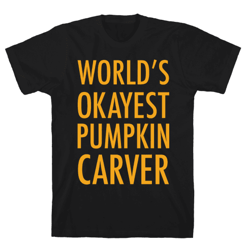 World's Okayest Pumpkin Carver Orange Mens T-Shirt
