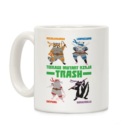 Teenage Mutant Ninja Trash TMNT Parody Coffee Mug