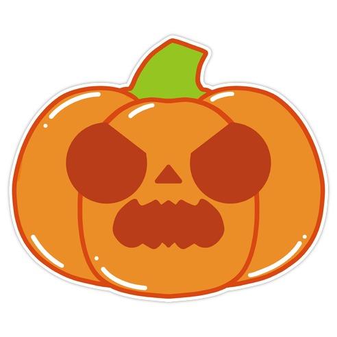 Kawaii Angry Pumpkin Die Cut Sticker