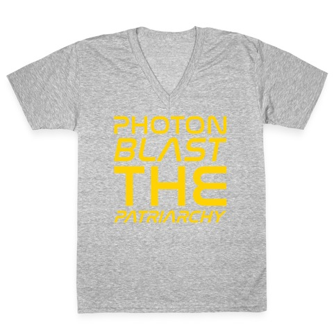 Photon Blast The Patriarchy Parody White Print V-Neck Tee Shirt