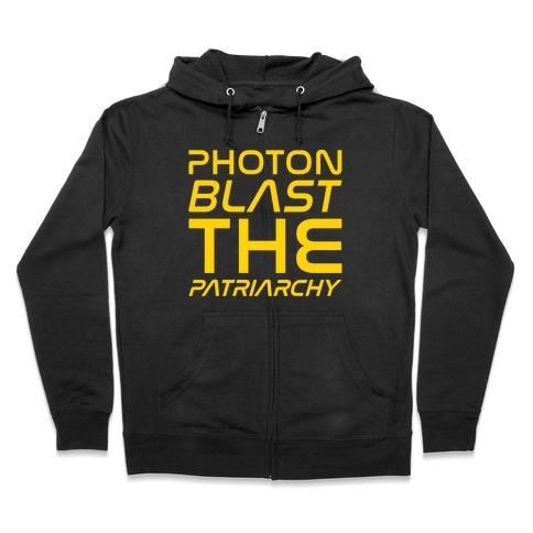 Photon Blast The Patriarchy Parody White Print Zip Hoodie