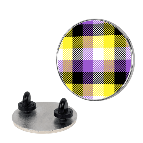 Nonbinary Pride Flag Plaid Pin