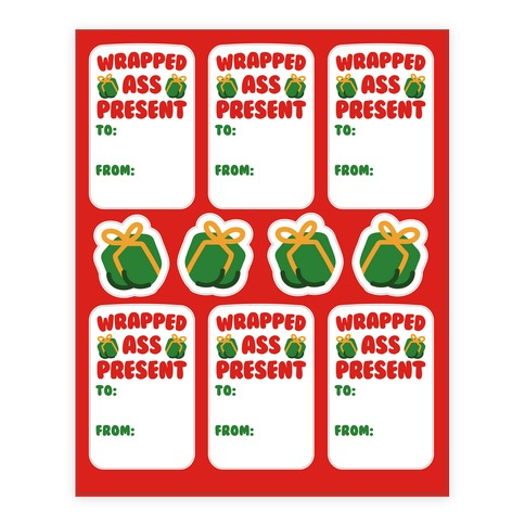 Wrapped Ass Present Sticker and Decal Sheet