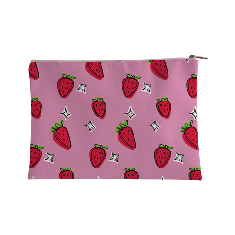 Sketchy Strawberry Pattern Accessory Bag