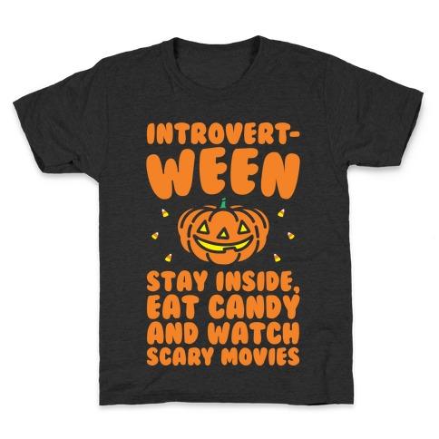 Introvert-ween Introverted Halloween Mashup Parody White Print Kids T-Shirt
