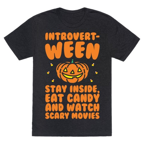 Introvert-ween Introverted Halloween Mashup Parody White Print T-Shirt