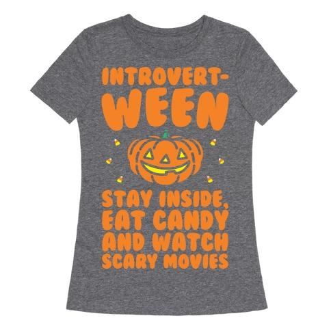 Introvert-ween Introverted Halloween Mashup Parody White Print Womens T-Shirt