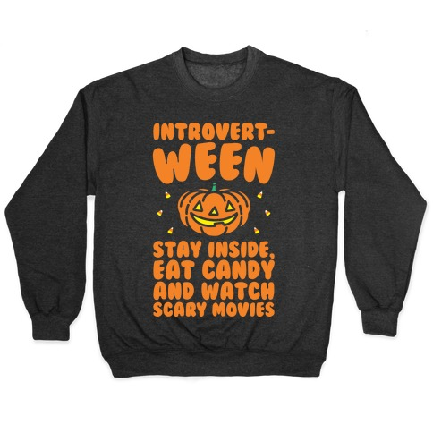 Introvert-ween Introverted Halloween Mashup Parody White Print Pullover