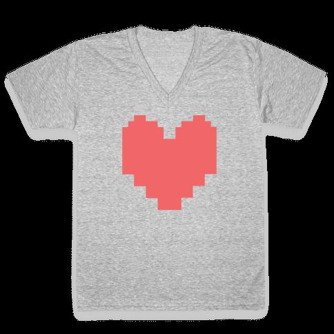 Undertale Pixel Heart V-Neck Tee Shirt
