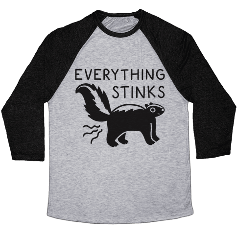 Everything Stinks Skunk Baseball Tee