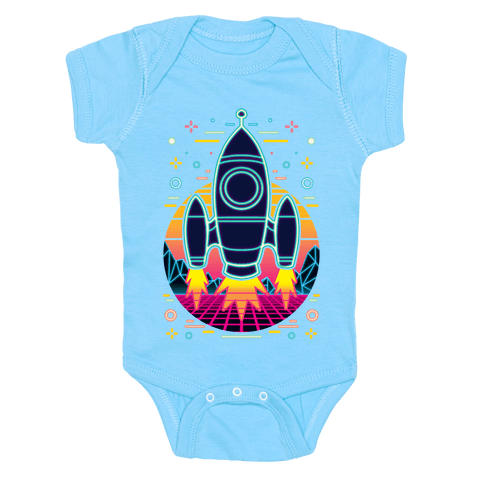 Synthwave Space Exploration Baby One-Piece