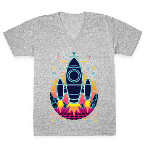 Synthwave Space Exploration V-Neck Tee Shirt