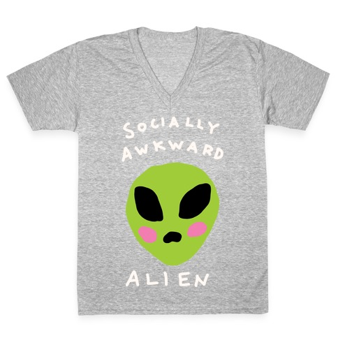Socially Awkward Alien V-Neck Tee Shirt