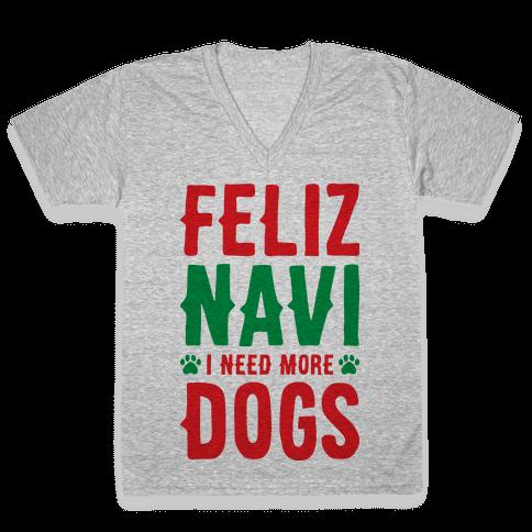 Feliz Navi Dogs V-Neck Tee Shirt
