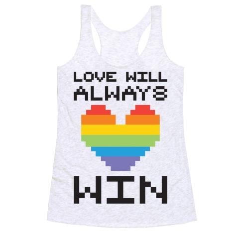 Love Will Always Win Pixel Heart Racerback Tank Top