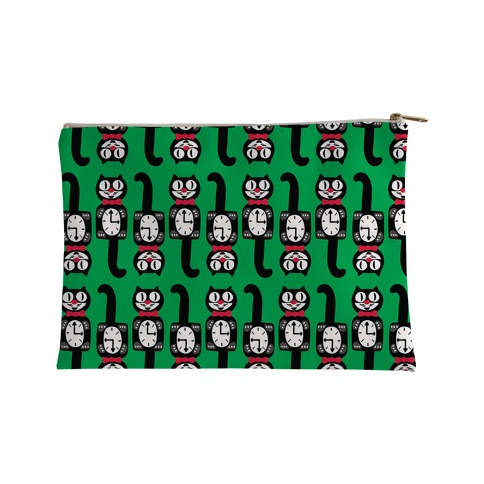 Retro Christmas Cat Clock Pattern Accessory Bag