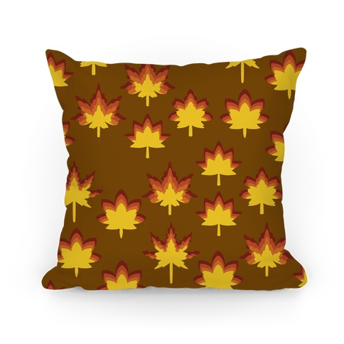 Retro Fall Leaves Pattern Pillow