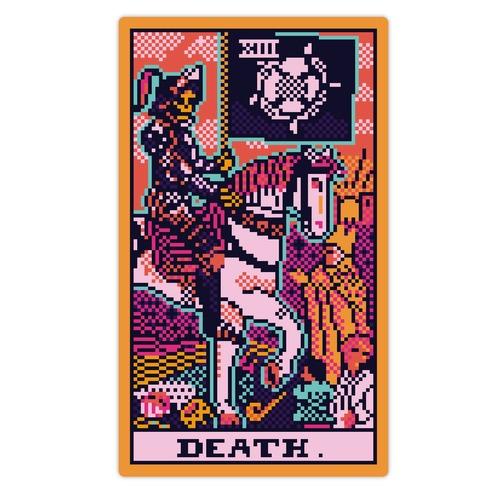 Pixelated Death Tarot Card Die Cut Sticker