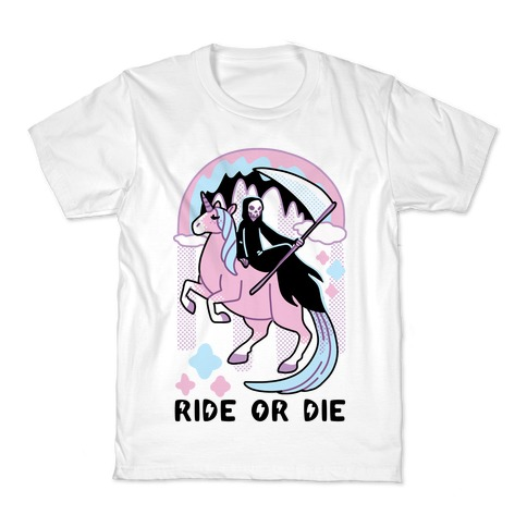 Ride or Die - Grim Reaper and Unicorn Kids T-Shirt
