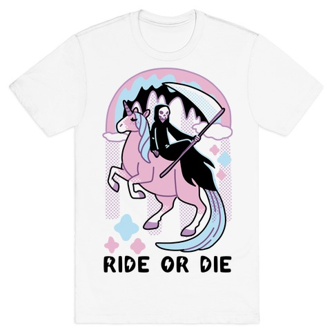 Ride or Die - Grim Reaper and Unicorn T-Shirt