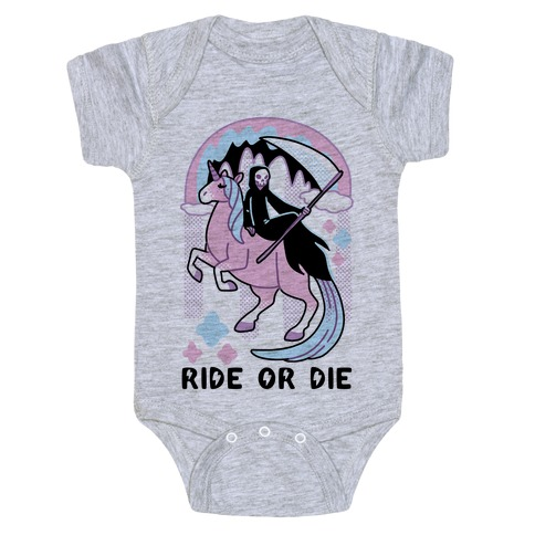 Ride or Die - Grim Reaper and Unicorn Baby Onesy