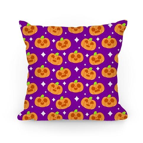 Kawaii Pumpkins Pattern Orange Pillow