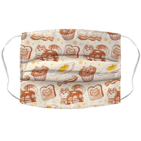 Breakfast Cats Accordion Face Mask