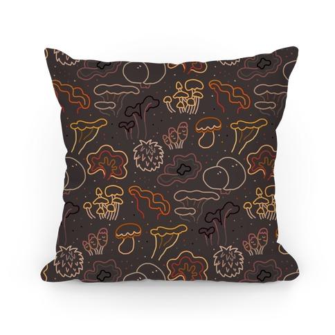 Fall Mushrooms (Dark Background)  Pillow