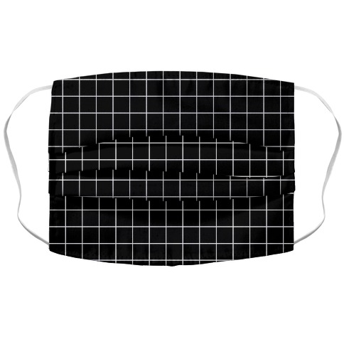 Black and White White Line Grid Design Face Mask