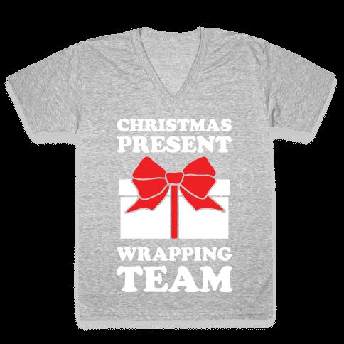 Christmas Present Wrapping Team V-Neck Tee Shirt