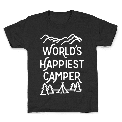 World's Happiest Camper White Print Kids T-Shirt
