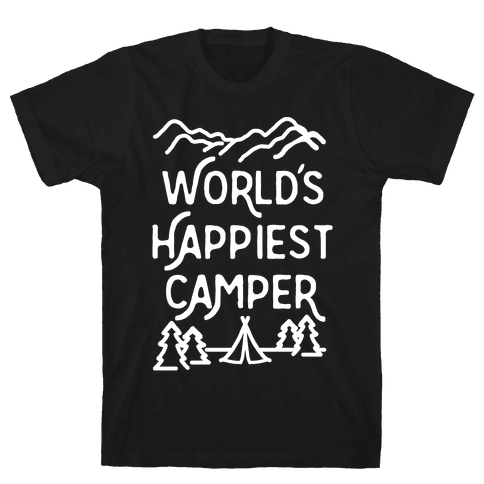 World's Happiest Camper White Print Mens T-Shirt