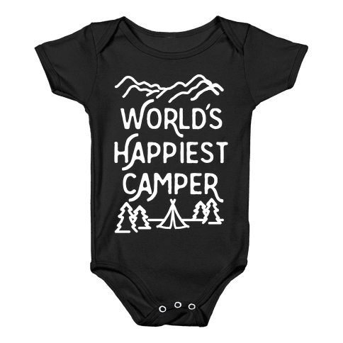 World's Happiest Camper White Print Baby Onesy