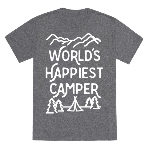 World's Happiest Camper White Print T-Shirt