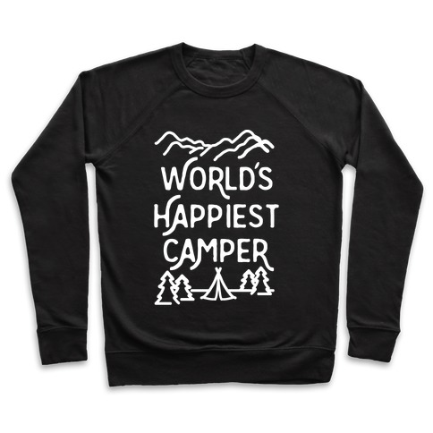 World's Happiest Camper White Print Pullover