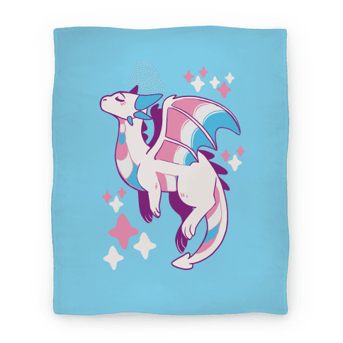 Trans Pride Dragon Blanket