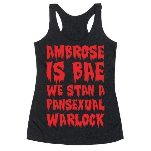 Ambrose Is Bae Parody White Print Racerback Tank Top